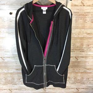 Avenue lightweight zip up hoodie jacket gray, pink